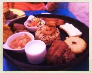 A sample platter of local Caribbean food