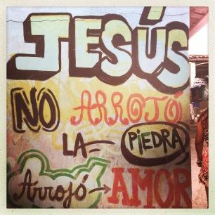 """Jesus didn't throw rocks he threw love"""